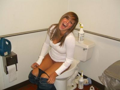 Girl pooping on toilet